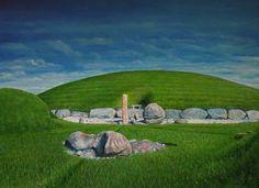 Knowth, Boyne Valley - Oil on Canvas 100cm x 50cm by Sam Gaine.