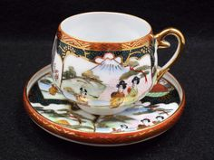 Vintage Japanese Porcelain Hand Painted Gilt Demitasse Tea Cup & Saucer