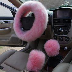 KKYSYELVA de Piel Rosa de Invierno cubierta Del volante de Dirección Negro Cubre Cubierta del volante De Lana Accesorio Del Coche 38 cm