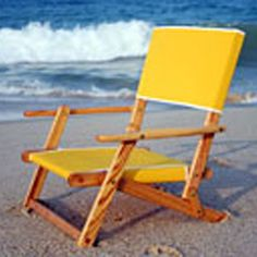 Beaching it... with an oak wood beach chair! From Out Boat House: http://www.ourboathouse.com/sand-chair/