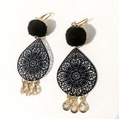 Δαντελένια σκουλαρικια με πομ πον Pom Pon, Drop Earrings, Jewelry, Fashion, Moda, Jewlery, Jewerly, Fashion Styles, Schmuck