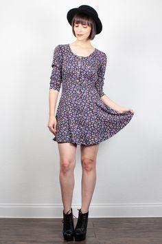 Vintage 90s Dress 1990s Dress Soft Grunge Dress Black purple Floral Print Mini Dress Hipster Babydoll Dress Skater Dress S Small M Medium by ShopTwitchVintage #vintage #etsy #90s #1990s #dress #mini #floral #grunge #softgrunge