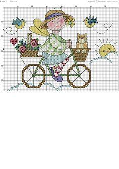 Cross stitch girl on bike with cat. Feechka-001.jpg 2,066×2,924 píxeles