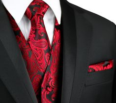 Formal Vest, Formal Tuxedo, Formal Suits, Men Formal, Suit With Red Tie, Black And Red Suit, Vest And Tie, Black Man, Red Tuxedo