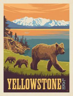 Visit Yellowstone, Yellowstone National Park, Grand Teton National Park, American National Parks, National Parks Map, Vintage National Park Posters, Carlsbad Caverns National Park, Mount Rainier National Park, Hand Illustration