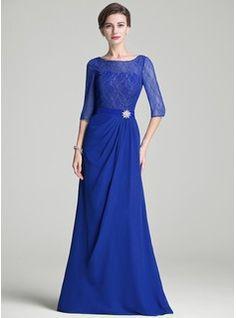 Corte A/Princesa Escote en V Hasta el suelo Gasa Encaje Vestido de madrina con Volantes (008102681) - JenJenHouse