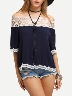 Off-The-Shoulder+Contrast+Lace+Tirmmed+Blouse+14.99