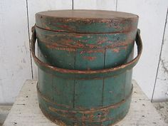 19th Century Original Green Paint Wood Firkin with a Handle Primitive AAFA