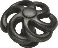 Charleston Blacksmith Knob 1-1/2'' Diameter Black Iron Finish