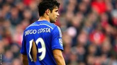 Nov. 8th. 2014: Diego Costa suffers a ripped shirt in the hourly-burly of a match with Liverpool.
