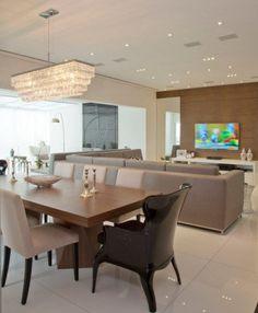 Living e sala de jantar de apartamento duplex de 300 m². Projeto de Patricia Kolanian Pasquini.