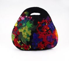 Felt Purse Nunofelt Bag ART DECO BAG Designer bag Black by filcant