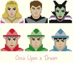 Once Upon a Dream Cross Stitch Pattern- Sleeping Beauty, Aurora, Maleficent, Fairies, Prince Philip by KeenahsCrossStitch on Etsy