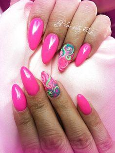 A cocktail pink summer nails, summer nail art, summer holiday nails, Pink Summer Nails, Neon Pink Nails, Summer Nail Art, Summer Holiday Nails, Summer Nails 2018, Unicorn Nails Designs, Pink Nail Designs, Summer Nail Designs, Almond Nails Designs Summer