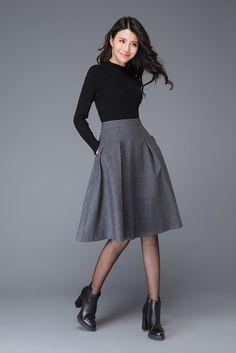 Dark gray skirt/wool skirt/winter midi skirt/gray by YL1dress