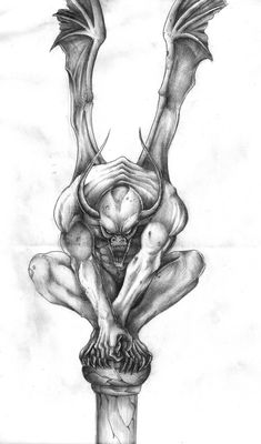 gargoyles dragons in pencil - Google Search