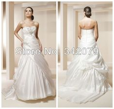 ph10676 Taffeta trumpet bridal ball gown with center-gathered beaded accent on bustline crystal bridal dress#ball gown