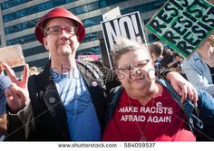 CHICAGO, ILLINOIS - FEBRUARY 19, 2017: Chicago marks the one-month anniversary of the Donald Trump administration with a protest rally at the Trump Tower.