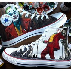 Joker Custom Shoes Hand Painted Shoes Painted Canvas Shoes, Painted Converse, Hand Painted Shoes, Joker Converse, Converse All Star, Converse Sneakers, Custom Shoes, Custom Sneakers, Joker Painting
