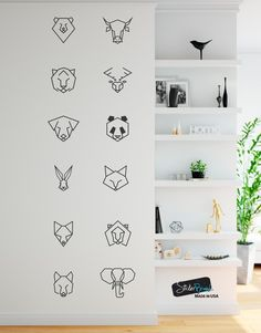 Decal #6091 Trendy geometric animal patterns for your walls. Including all 12 Geometric patterns: Bear, Bull, Fox, Tiger, Deer, Wolf, Dog, Panda, Lion, Rabbit, Cat and Elephant. Different sizes are available. Email us and we will give you a fair price. Some wall decals may come in multiple pieces due to the size of the
