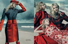 a red letter day: clair westenberg, skye stracke and lisa by sophy holland for elle singapore august 2015