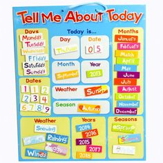 Tell Me About Today. A fun and interactive way to educate in the home. These charts stimulate family interaction and learning; whilst encouraging good behaviour.