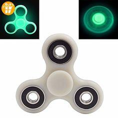 4-Mins Glow in the Dark Tri-Spinner Fidget Spielzeug Fast Bearings Finger Spinner Great für ADHS EDC und Töten Zeit lange Spin Time - WHITE - Fidget spinner (*Partner-Link)