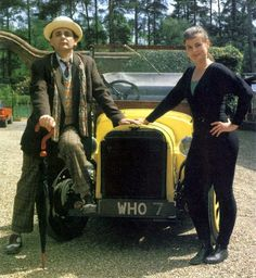 Sylvester McCoy and Sophie Aldred with Bessie on location for 'Battlefield'