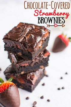Chocolate-Covered Strawberry Brownies | A baJillian Recipes (title)