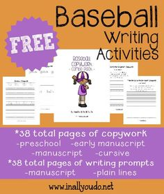 Baseball is America's Favorite Pastime. Kids will enjoy writing with these 76 themed Baseball writing activities for PreK-5th grade!! :: www.inallyoudo.net