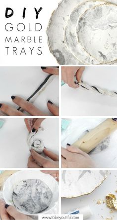 DIY marble jewelry bowl with gold inlay - HANDMADE culture - what you don't . DIY marble jewelry bowl with gold inlay – HANDMADE culture – What you can not do yourself with some air-d Diy Jewelry Rings, Diy Jewelry Unique, Diy Jewelry To Sell, Diy Jewelry Holder, Diy Jewelry Tutorials, Handmade Jewelry, Jewelry Tray, Gold Diy, Diy Upcycled Art