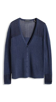 fine-knit cardigan with a semi-sheer finish