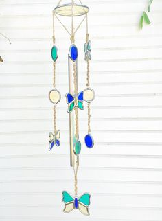 Butterfly Wind Chime Stained Glass and Macrame by JBsGlassHouse