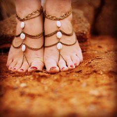 Sonora Howlith Strand Hochzeit barfuß Sandal foot Schmuck Hochzeit Schuhe Sklave Fußkette böhmischen Sandalen Boho Schmuck Kette Sandale Fuß chain