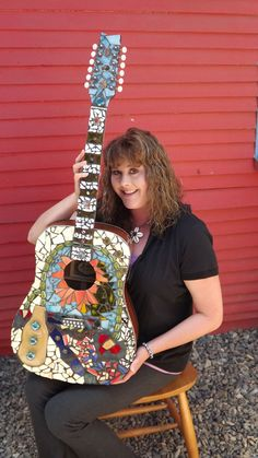 Mosaic Guitar with Case by PiecesofhomeMosaics on Etsy, $500.00