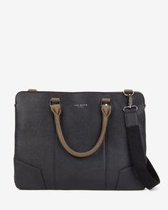 5ff819bb9c07 Contrast handle document bag - Black