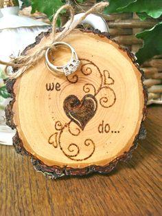 Rustic Wedding Ring Holder Wood Slice Ring by SweetHomeWoods, $26.00