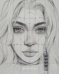 """Find the free Face Proportions Guidance in my board """"How to Draw. How I Draw"""". Art Drawings Sketches Simple, Portrait Sketches, Pencil Art Drawings, Realistic Drawings, Portrait Art, Drawing Portraits, Art Sketchbook, Art Tutorials, Art Reference"""