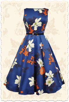 Robe rétro pin-up Hepburn imprimé floral bleu - Toutes les robes/Robes évasées - Lady Vintage - missretrochic.com
