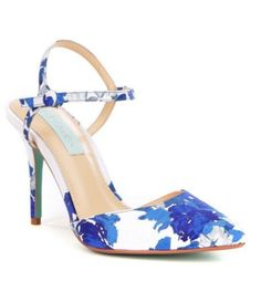 Betsey Johnson Anina Floral Print Satin Ankle Strap Pointed Toe Pumps #Dillards