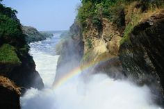 A rainbow in the spray above the Murchison Falls, Uganda.