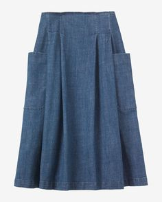 Column skirt in a soft, light cotton ikat. Fits neatly at the waist and over the hips. Three deep asymmetric pleats into slim waistband. Button and concealed zip fastening. Two pockets. Blouse And Skirt, Dress Skirt, Skirt Pleated, Workwear Skirts, Denim Skirts, Jean Skirts, Midi Skirts, Long Skirts, Denim Overalls