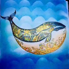"""Ocean perdu"" Johanna Basford cdc FC polychromos noir, stylos gels et pastels secs #concoursjohannabasford"
