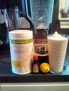 #HealthyLiving An uplifting breakfast shake under 100 calories (WOW) 2 Scoops #Herbalife piña colada mix ½ a lemon (peel and all) ¼ tsp coconut extract  1 cup ice and water   .... that's it :-)
