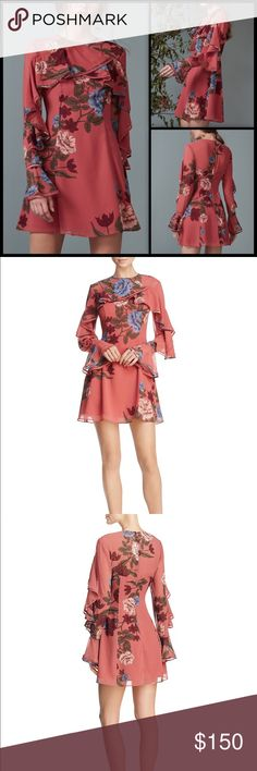 KEEPSAKE  Floral Spice Ruffled Mini Dress NWT Keepsake Night Lights LS Dress is a playful mini in a soft lightweight fabric. Features high rounded neckline with sheer panelling and invisible zip closure at back. Finished with front frill that cascades down the sleeve and a feminine flared cuff. Lined.  Style tip: Complete the look with a statement earring.  Model wears size Small.  Model measurements: Height is 180cm  Fabric: 100% Polyester  NWT KEEPSAKE the Label Dresses Mini