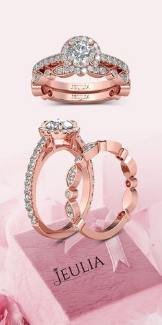 Leaf Shape Rose Gold Halo Round Cut Created White Sapphire Rhodium Plated 925 Sterling Silver Women's Bridal Ring Set #Jeulia