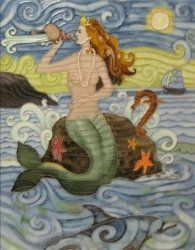 Mermaid Blowing a Conch Ceramic Wall Art Tile 11x14 $59.00 www.mermaidhomedecor.com - Mermaid Art Tiles & Trivets