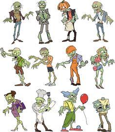 Describe a estos simpáticos zombies (Qué ropa lleva?)