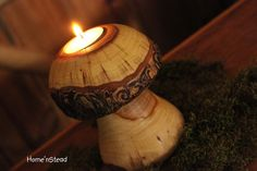 Mushroom Candle Rustic Holiday Table Decor Tea Light Holder Natural Waldorf Family Christmas Candle.