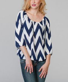 Look what I found on #zulily! Navy & White Zigzag Ruched Scoop Neck Top by Magic Fit #zulilyfinds